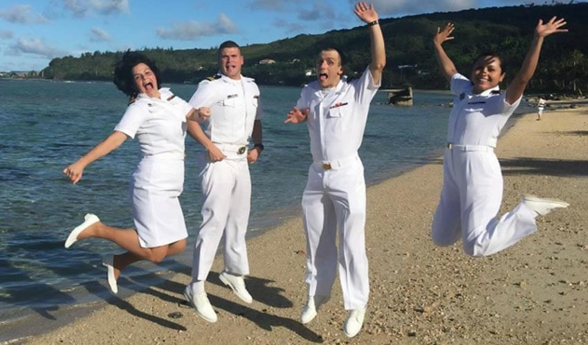 """Military Psychologists practicing self-care in Guam, """"Where America's day begins!"""""""